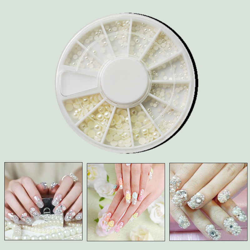 White Pearl Nail Art Stone Different Size Wheel Rhinestones Beads ...