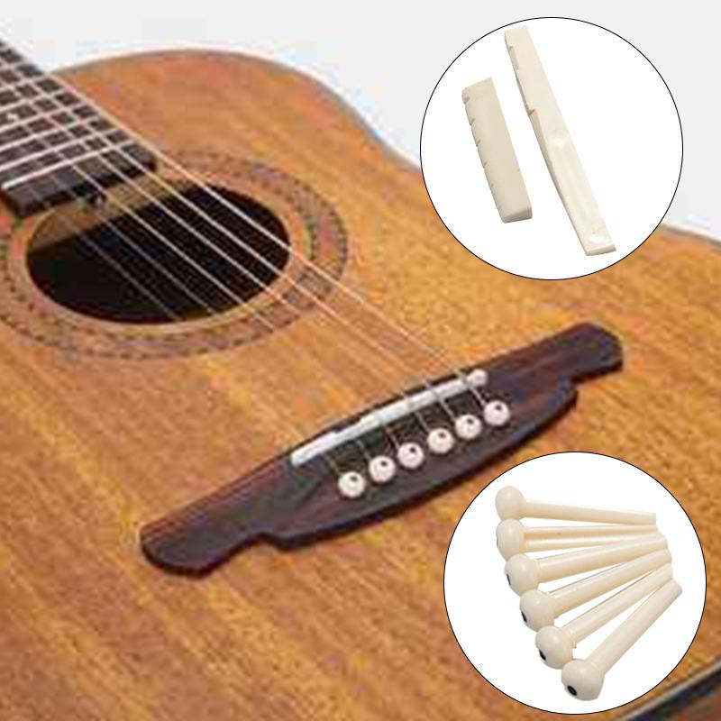 6 Bridge Pins Saddle Bridge Saddle Bone Bone Acoustic Guitar