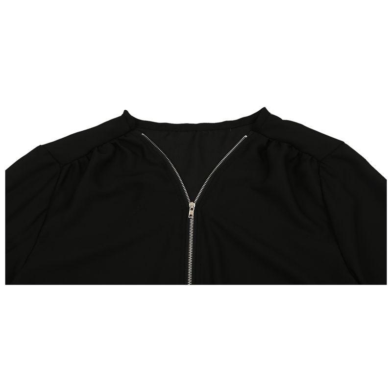 Chaqueta-de-V-cuello-de-cremallera-de-mujer-de-moda-de-primavera-otono-Cami-J2L2 miniatura 6