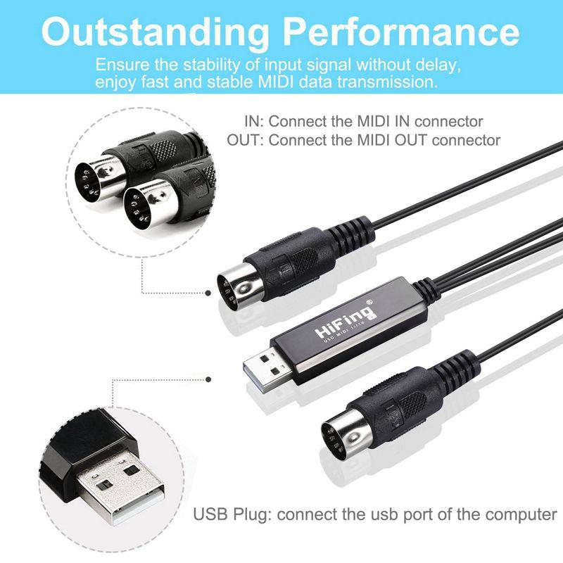HiFing USB IN-OUT MIDI Interface Konverter Adapter mit 5-PIN DIN MIDI Kabel D2