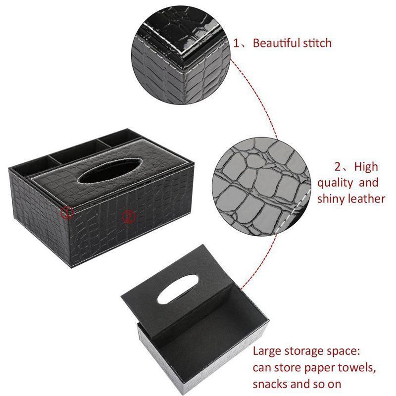 miniatuur 8 - Multifunction PU Leather Pen Pencil Remote Control Tissue Box Holder Desk C9H7