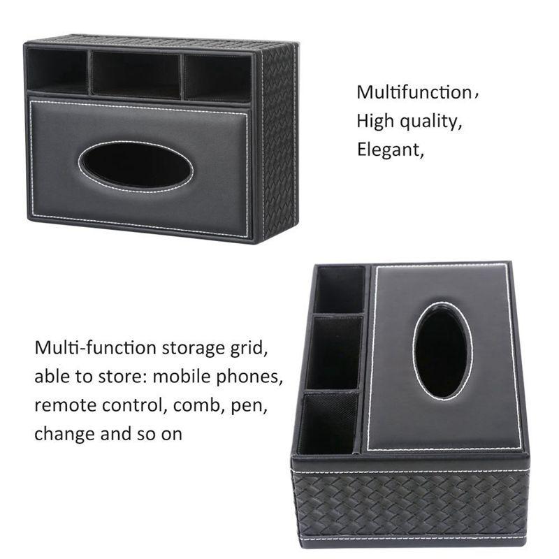 miniatuur 14 - Multifunction PU Leather Pen Pencil Remote Control Tissue Box Holder Desk C9H7