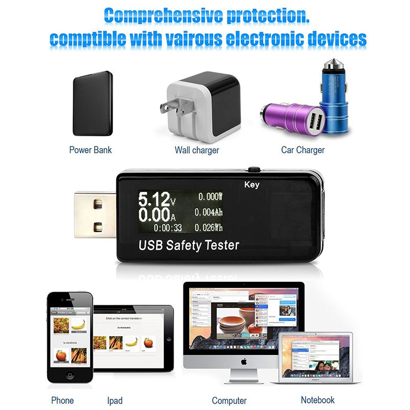 capacit/à della Power Bank USB voltage//Ampere misuratore di potenza tester multimetro test velocit/à di carica cavo