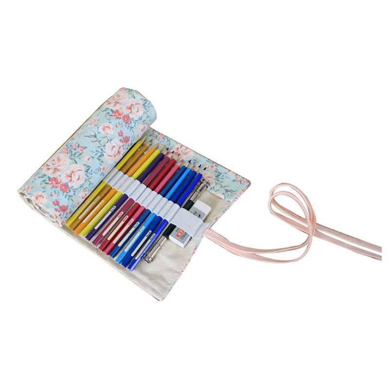10X(Canvas Pencil Wrap, Bleistifte Roll Pouch Case Hold fuer 48 Buntstifte Bl C9 | Bestellung willkommen