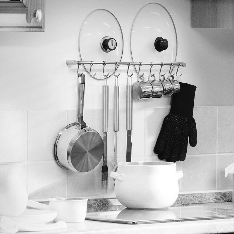 Kitchen-Rail-Rack-Wall-Mounted-Utensil-Hanging-Rack-Stainless-Steel-Hanger thumbnail 8