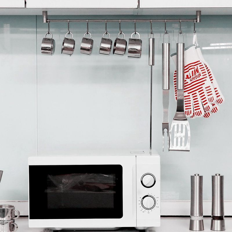 Kitchen-Rail-Rack-Wall-Mounted-Utensil-Hanging-Rack-Stainless-Steel-Hanger thumbnail 9