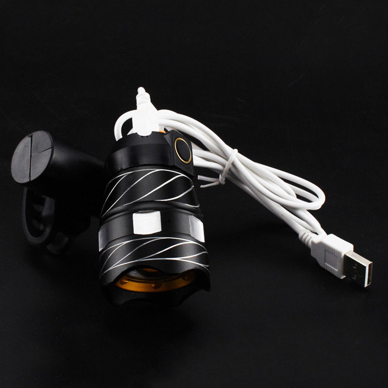 Luz-delantera-de-bicicleta-impermeable-LED-T6-recargable-USB-Lampara-luz-de-PB miniatura 3