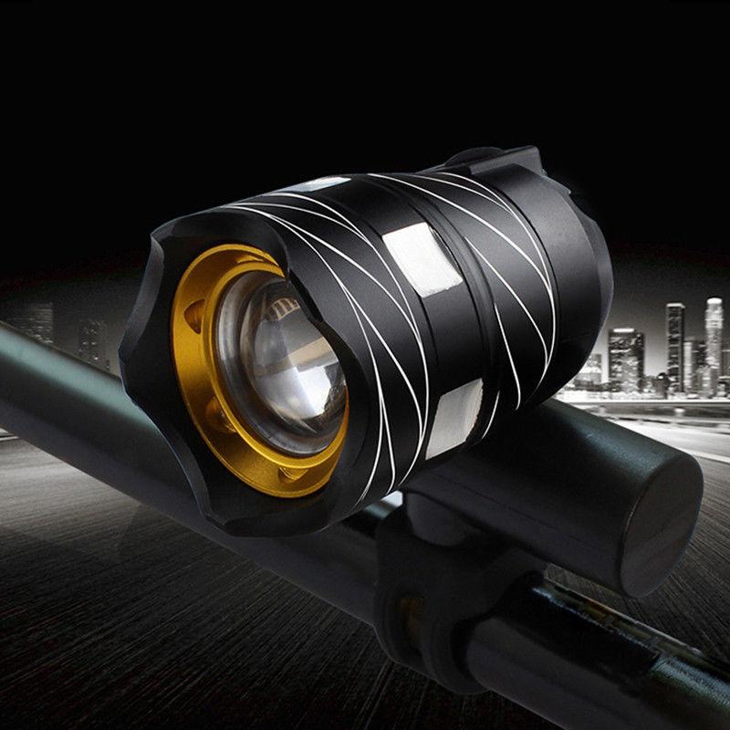 Luz-delantera-de-bicicleta-impermeable-LED-T6-recargable-USB-Lampara-luz-de-PB miniatura 5