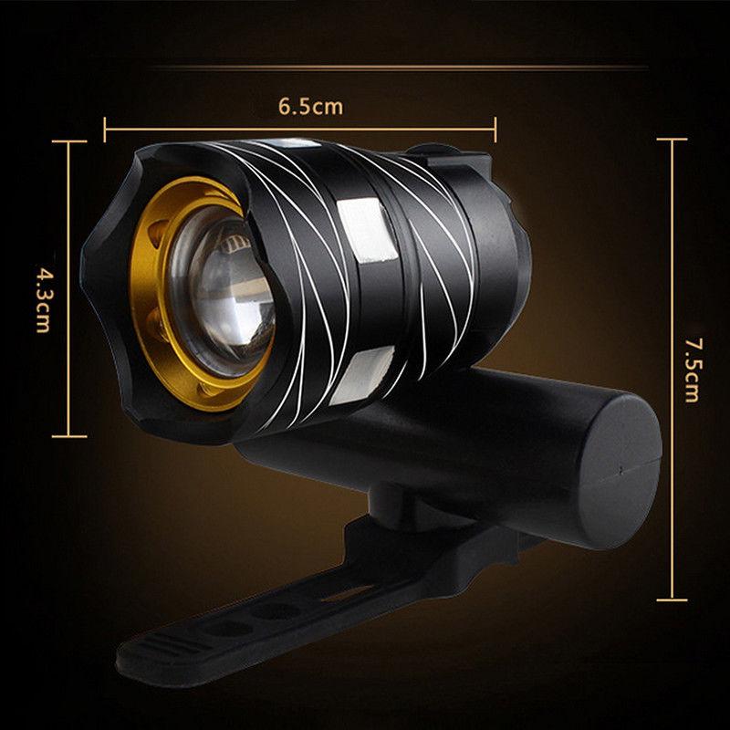 Luz-delantera-de-bicicleta-impermeable-LED-T6-recargable-USB-Lampara-luz-de-PB miniatura 6