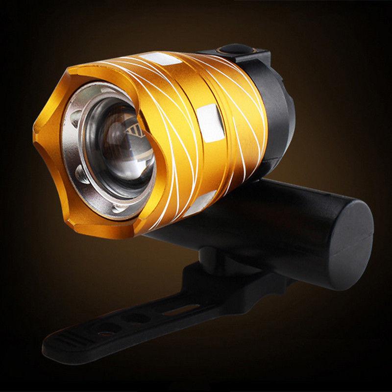 Luz-delantera-de-bicicleta-impermeable-LED-T6-recargable-USB-Lampara-luz-de-PB miniatura 9