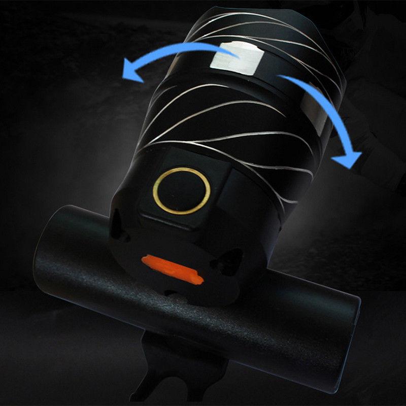 Luz-delantera-de-bicicleta-impermeable-LED-T6-recargable-USB-Lampara-luz-de-PB miniatura 15