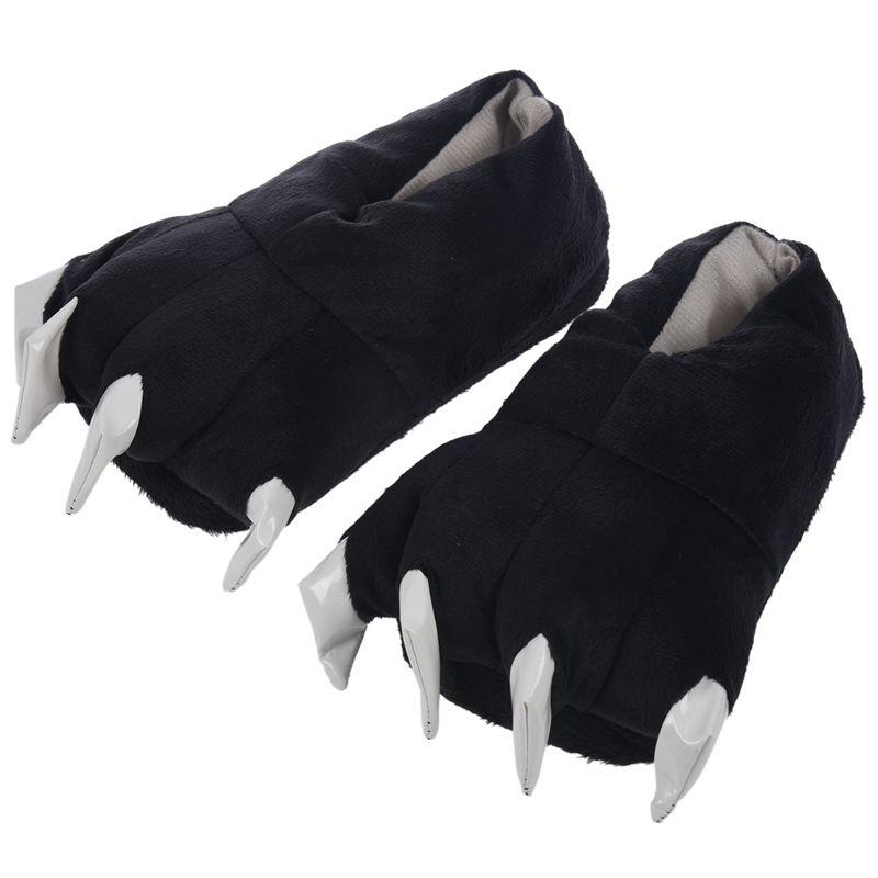 chaussons homme hiver animaux fantaisie peluche noir Griffe pantoufles patte Xvvx5aI