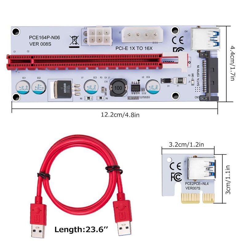 USB-3-0-Pcie-PCI-E-Express-1X-To-16X-GPU-Extender-Riser-Card-Adapter-T6M8 thumbnail 6