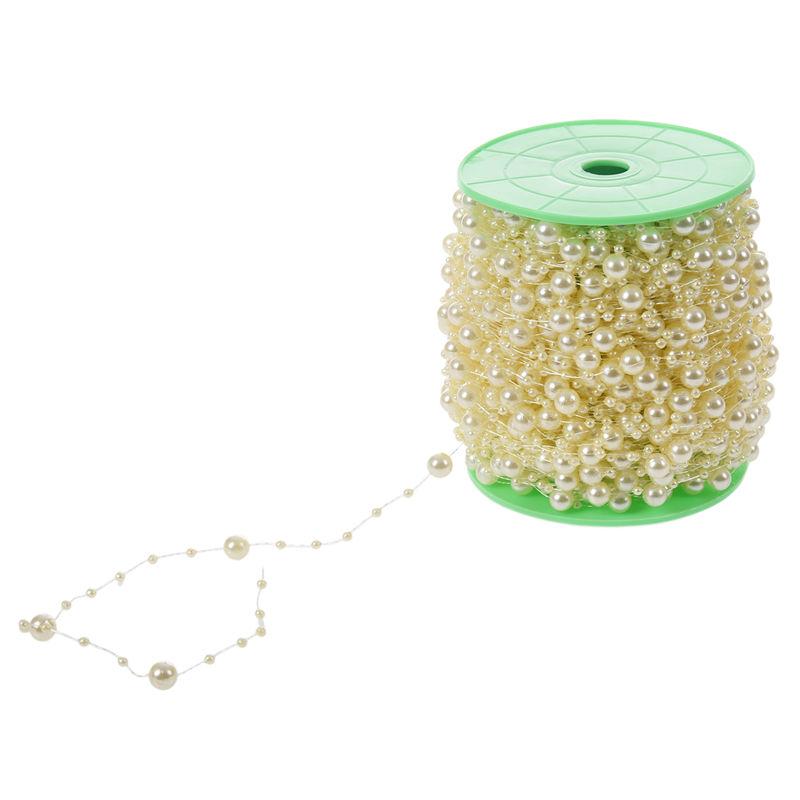 5X-1-roll-60m-Hanging-String-Acrylic-Pearl-Beads-Bouquet-Garland-Wedding-Ch-L1Y8