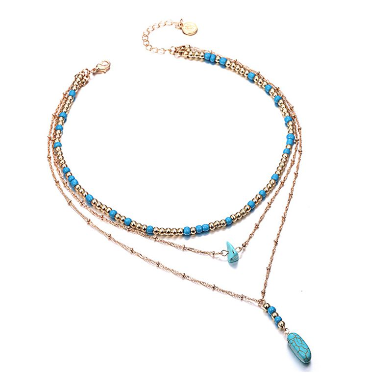 Image is loading Layering-Necklace-Wood-Bead-Blue-Stone-Chain-Necklace- b18f942c6