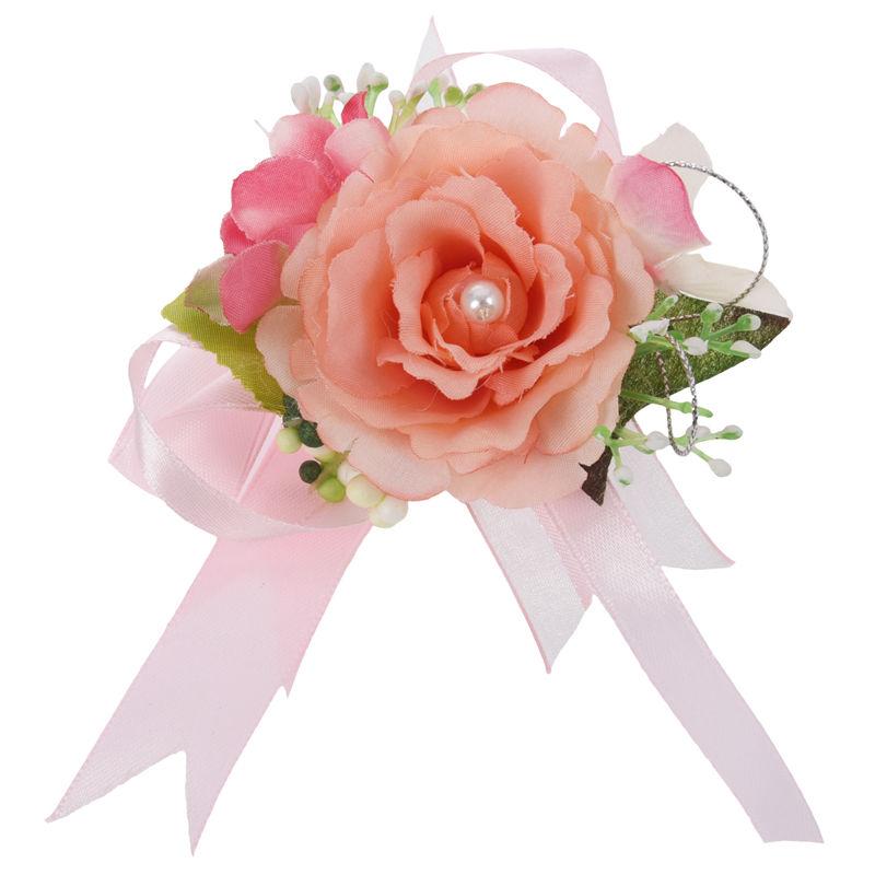 Wrist-Corsage-Bracelet-Bridesmaid-Hand-Flower-Wedding-Party-dark-blue-M3Q1 thumbnail 4