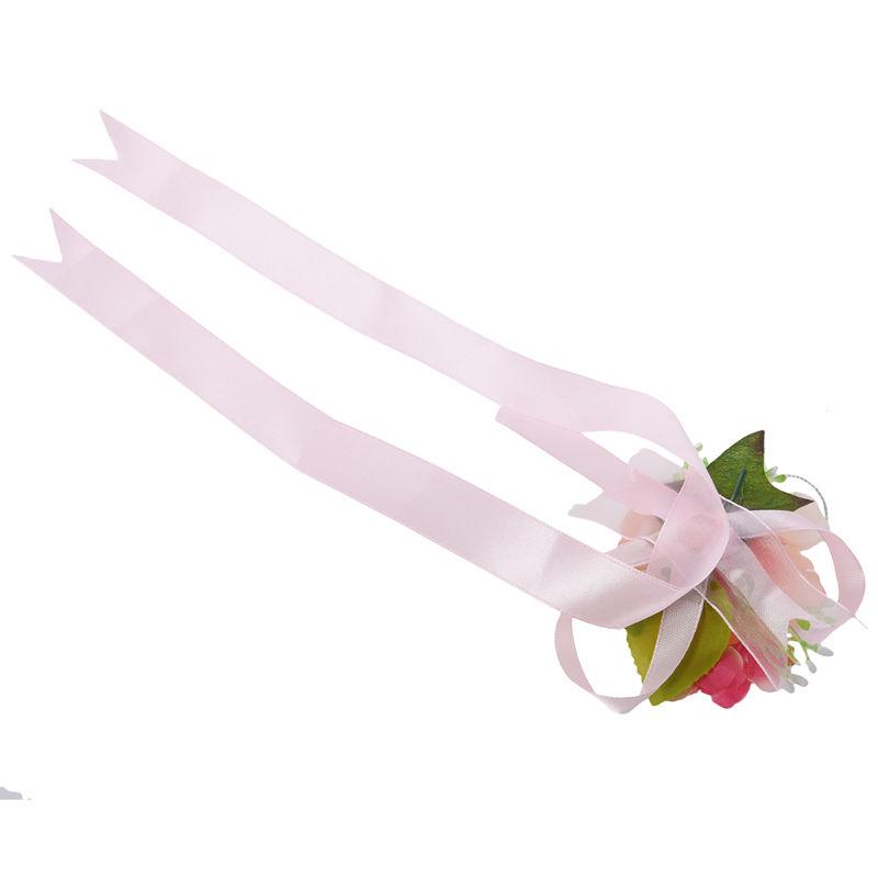 Wrist-Corsage-Bracelet-Bridesmaid-Hand-Flower-Wedding-Party-dark-blue-M3Q1 thumbnail 5