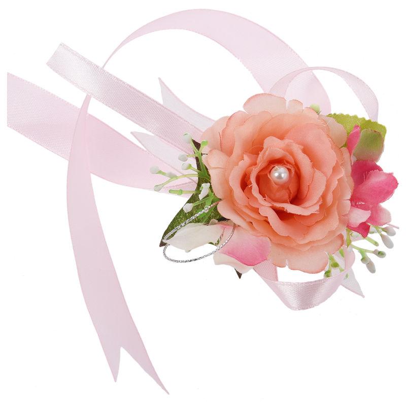 Wrist-Corsage-Bracelet-Bridesmaid-Hand-Flower-Wedding-Party-dark-blue-M3Q1 thumbnail 6