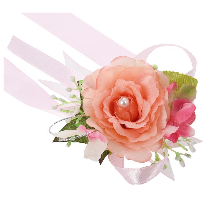 Wrist-Corsage-Bracelet-Bridesmaid-Hand-Flower-Wedding-Party-dark-blue-M3Q1 thumbnail 7