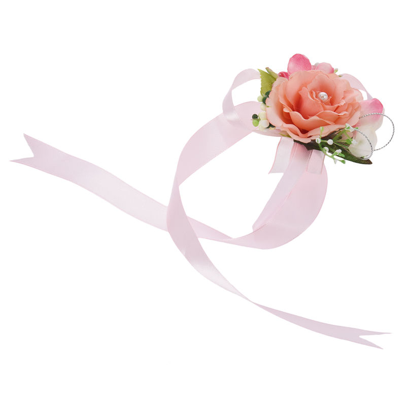 Wrist-Corsage-Bracelet-Bridesmaid-Hand-Flower-Wedding-Party-dark-blue-M3Q1 thumbnail 2