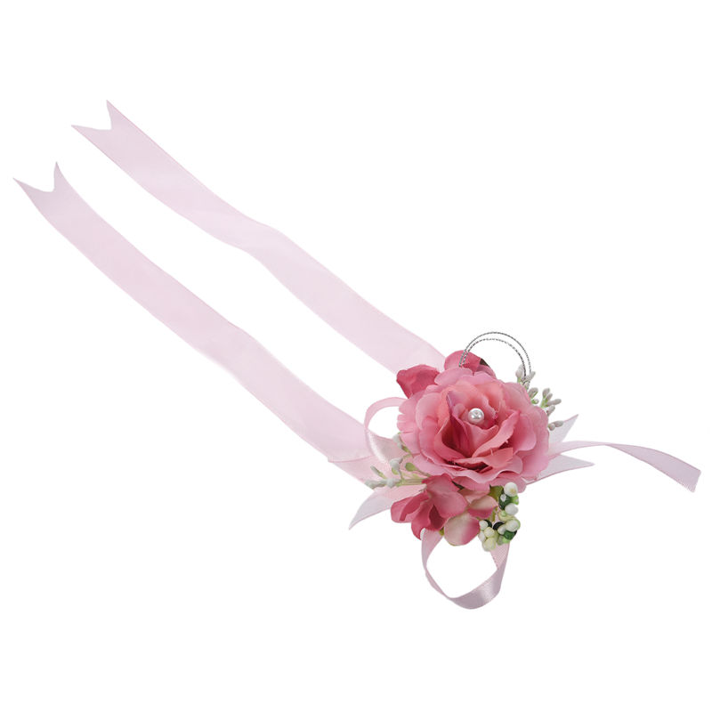Wrist-Corsage-Bracelet-Bridesmaid-Hand-Flower-Wedding-Party-dark-blue-M3Q1 thumbnail 20