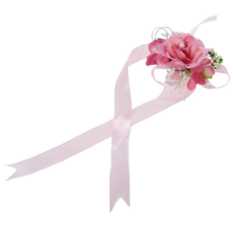 Wrist-Corsage-Bracelet-Bridesmaid-Hand-Flower-Wedding-Party-dark-blue-M3Q1 thumbnail 19