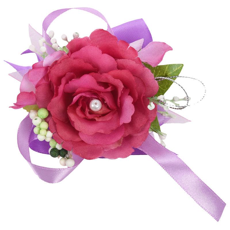 Wrist-Corsage-Bracelet-Bridesmaid-Hand-Flower-Wedding-Party-dark-blue-M3Q1 thumbnail 30