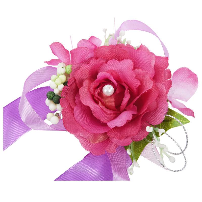 Wrist-Corsage-Bracelet-Bridesmaid-Hand-Flower-Wedding-Party-dark-blue-M3Q1 thumbnail 31