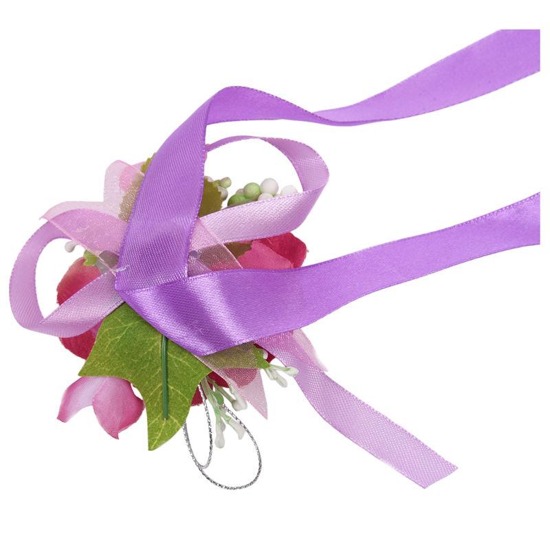 Wrist-Corsage-Bracelet-Bridesmaid-Hand-Flower-Wedding-Party-dark-blue-M3Q1 thumbnail 32