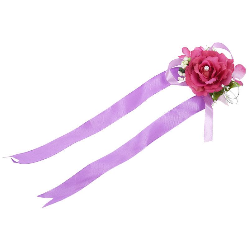 Wrist-Corsage-Bracelet-Bridesmaid-Hand-Flower-Wedding-Party-dark-blue-M3Q1 thumbnail 28
