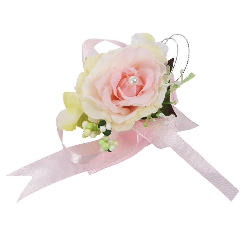 Wrist-Corsage-Bracelet-Bridesmaid-Hand-Flower-Wedding-Party-dark-blue-M3Q1 thumbnail 36
