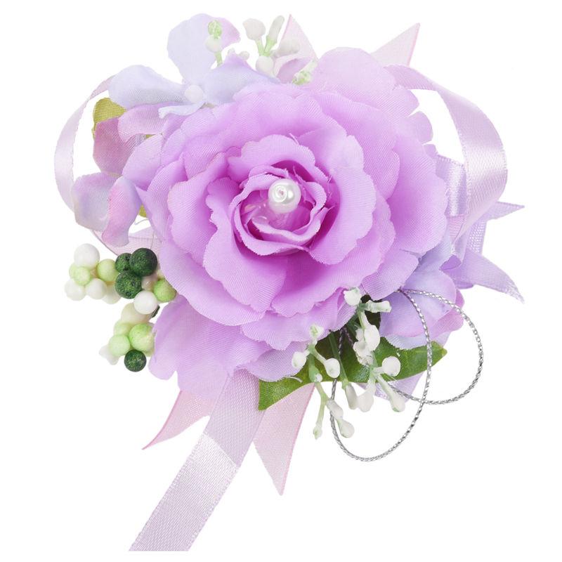 Wrist-Corsage-Bracelet-Bridesmaid-Hand-Flower-Wedding-Party-dark-blue-M3Q1 thumbnail 40