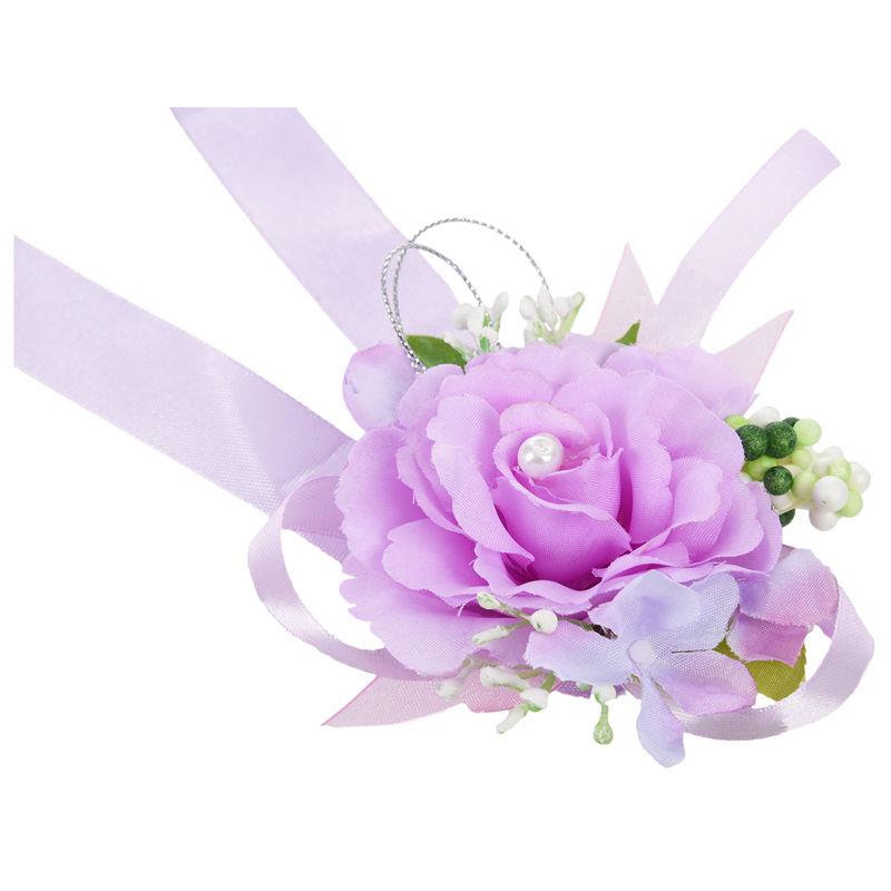 Wrist-Corsage-Bracelet-Bridesmaid-Hand-Flower-Wedding-Party-dark-blue-M3Q1 thumbnail 41