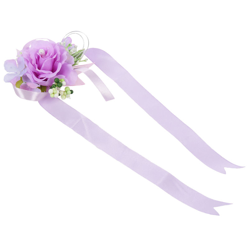 Wrist-Corsage-Bracelet-Bridesmaid-Hand-Flower-Wedding-Party-dark-blue-M3Q1 thumbnail 38