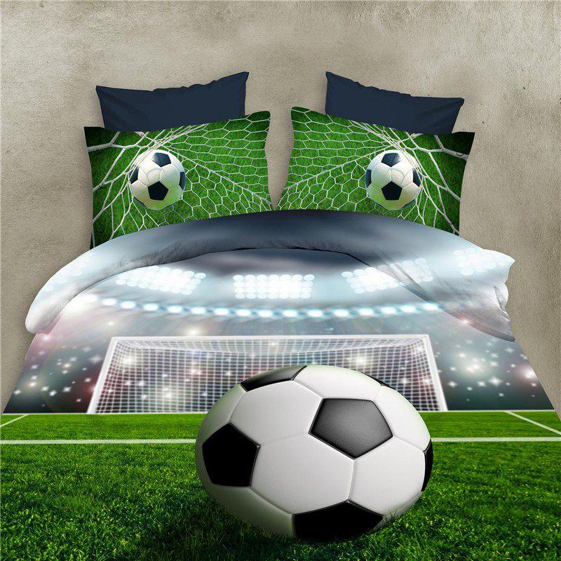 Juegos de Sabanas de cama de patron de Futbol 3D Funda nordica de Edredon e H2P9