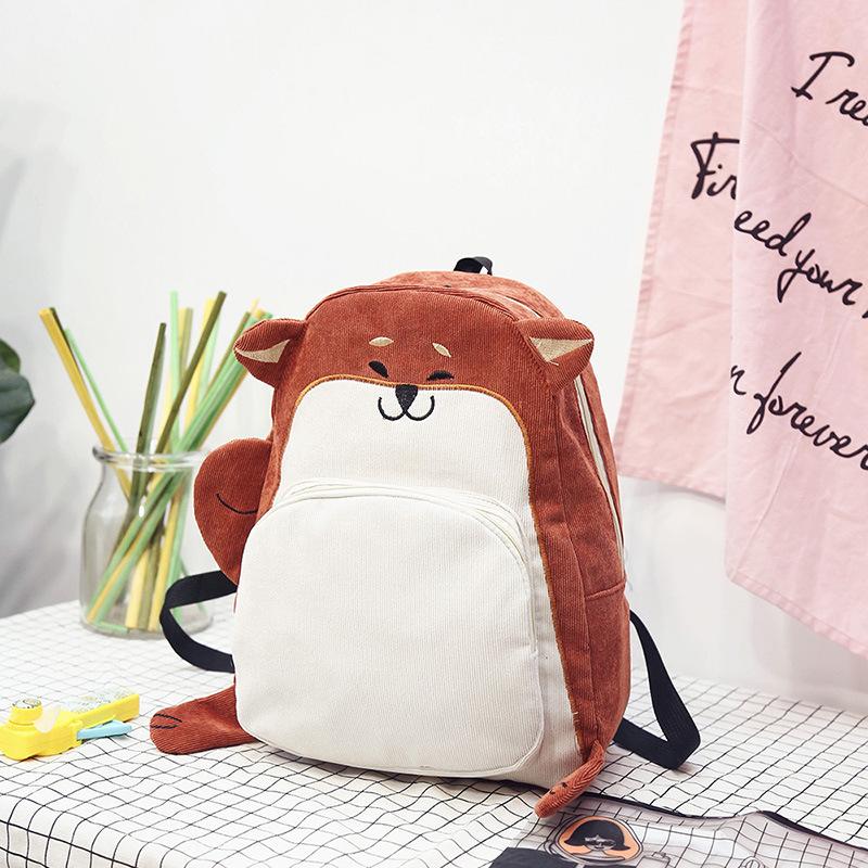 8946dfbc210 Women Backpack Schoolbag Canvas Cute fox Backpack Female Vintage Notebook B  W3J0