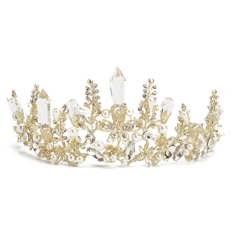 color atractivo Tener cuidado de muy baratas 2X(Tiara Corona de perla cristal oro boda nupcial barroco reina Diadema  BandaK5) | eBay