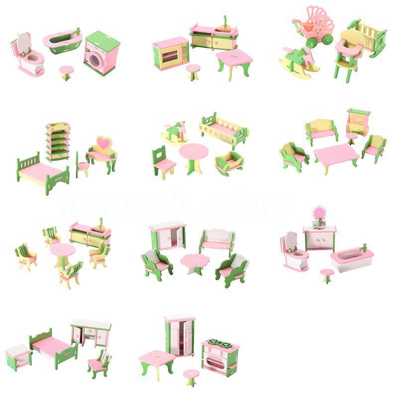 Cosas De Madera Para Bebes.Detalles De 49 Piezas De 11 Juegos De Muebles De Madera Para Bebes Para Casa De Munecas U3c9