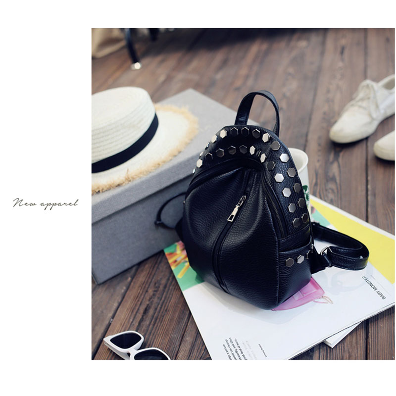 611145a6ad Small Women Backpacks Rivet Zipper Pu Leather Student Backpack Fashion Bag  B3Y2