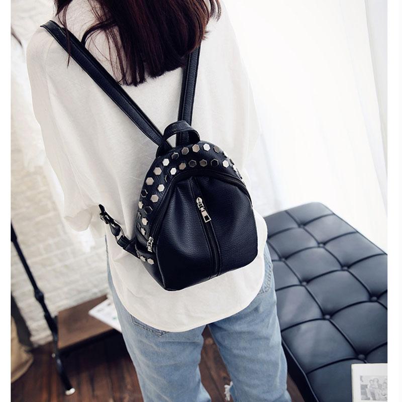 7b6a4e407a ... Rivet Zipper Pu Leather Student Backpack Fashion Bag B3Y2. Style Type   shoulders