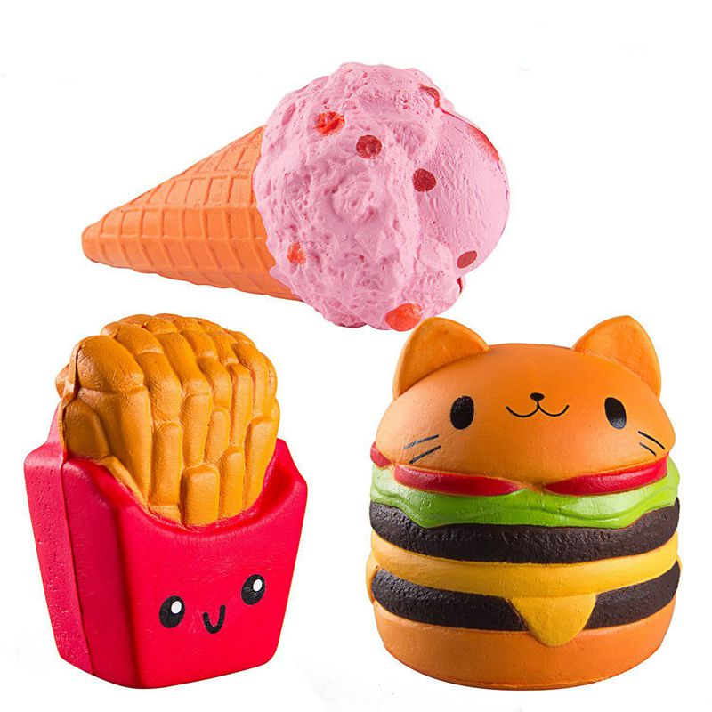 Kawaii Jumbo hamburger fries set Squishy Slow Rising Sweet Scented Vent Cha W6Q2