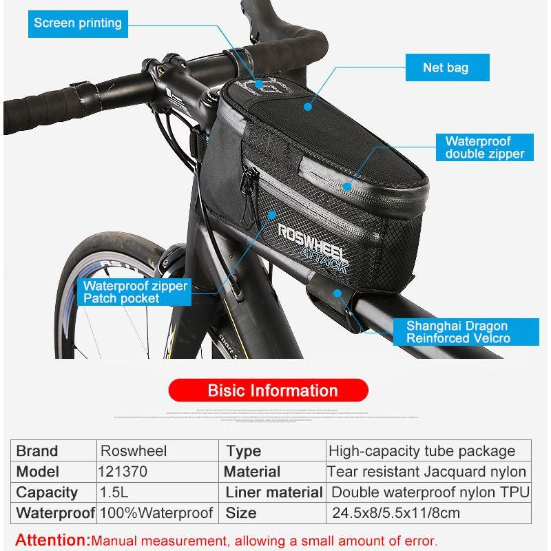 ROSWHEEL-ATTACK-121370-Bolsa-de-bicicleta-100-impermeable-tubo-marco-frontal6A1