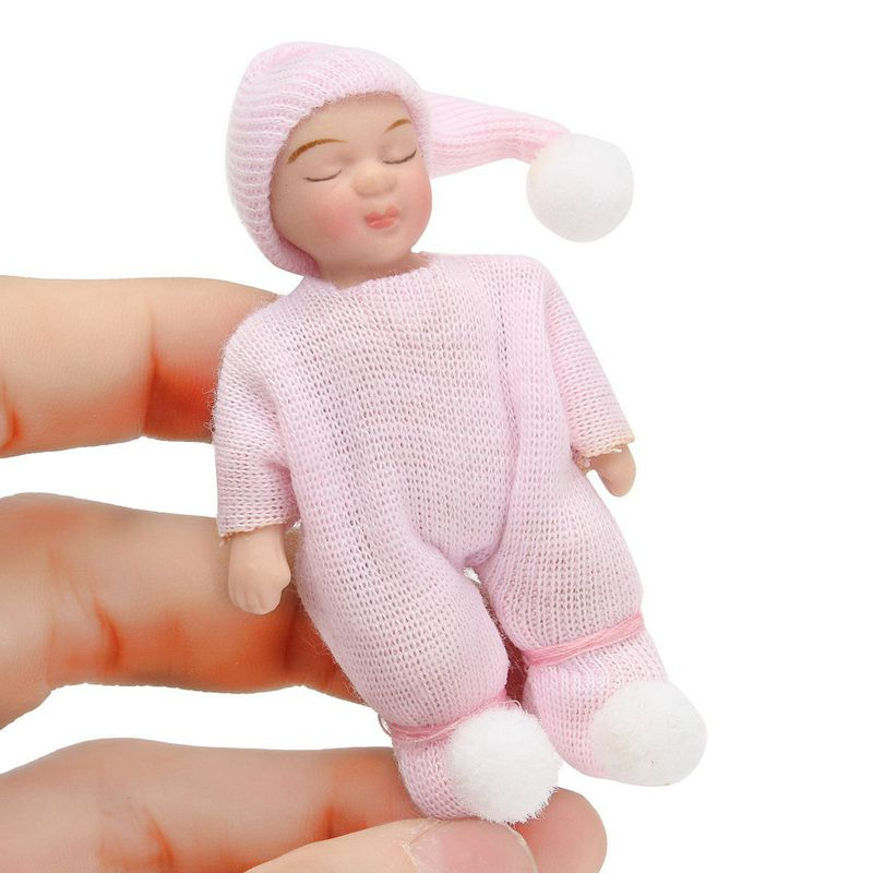 12 Scale DollHouse Miniature People Figures Porcelain Dolls Sleeping Bab I3L6 1