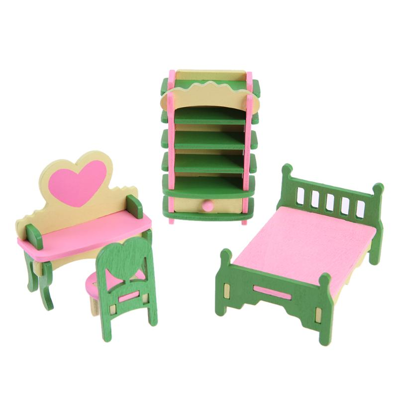 1 Set/4pcs Baby Wooden Dollhouse Furniture Dolls House Miniature Child Play  K7B5