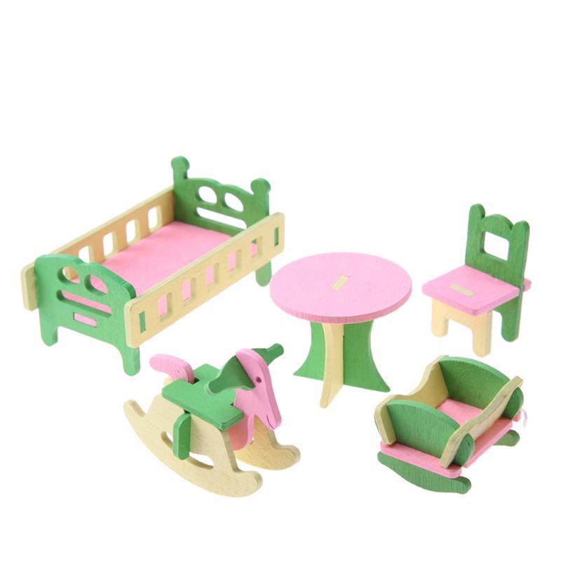 1 juego / 5 piezas de Muebles casa munecas madera para los Bebes ...
