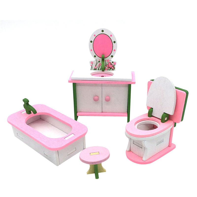 1 juego de Muebles casa munecas madera para los Bebes Juguetes en ...