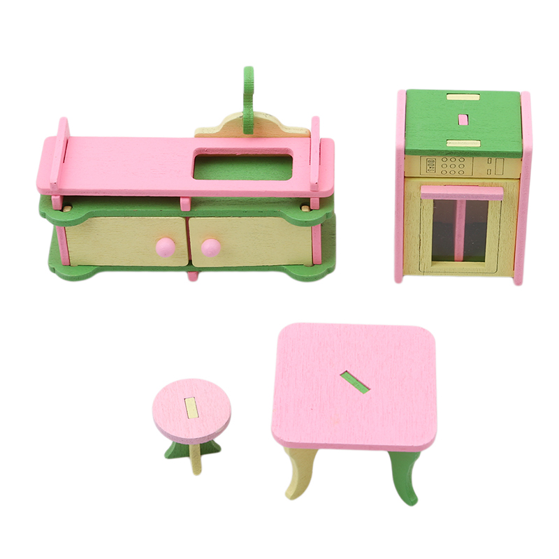 1 set//4pcs Baby Wooden Dollhouse Furniture Dolls House Miniature Child Play X6G1