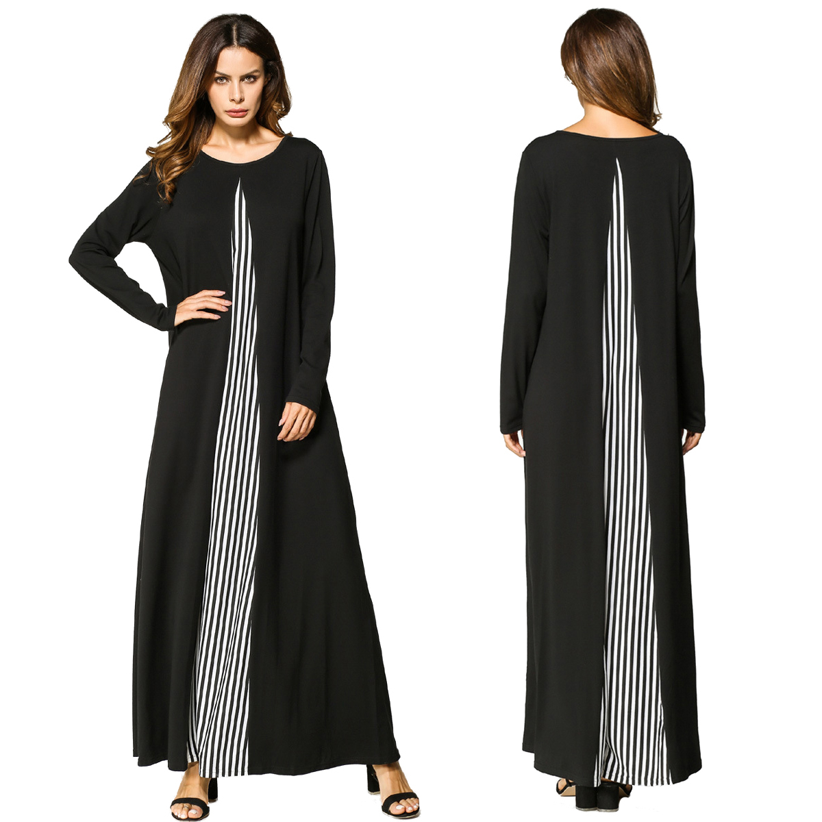 a8bc9c2247981 Cette robe longue a manches longues a rayures ethniques est douce et  respirante. Vous pouvez le porter seul ou le porter dans votre abaya pour  la mode et ...