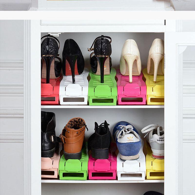 Schuhregale-Einstellbare-Moderne-Doppelreinigung-Lagerung-Schuhe-Rack-Wohnz-O1G9 Indexbild 3