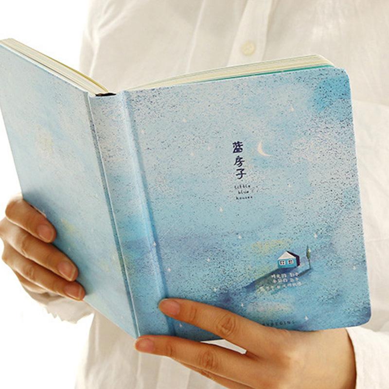 Paginas-a-color-de-Tendencia-creativa-Cuaderno-A5-de-patron-de-Pequena-casa-azul miniatura 3